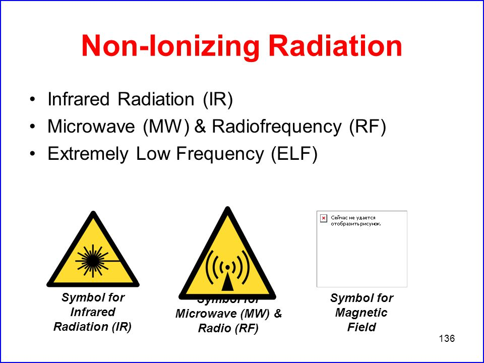 136 Non-Ionizing Radiation Infrared Radiation (IR) Microwave (MW) & Radiofrequency (RF) Extremely Low Frequency (ELF) Symbol for Infrared Radiation (IR) Symbol for Microwave (MW) & Radio (RF) Symbol for Magnetic Field