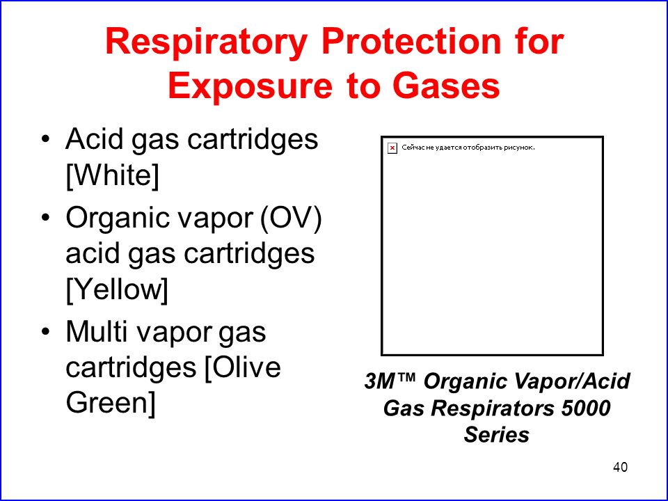 40 Respiratory Protection for Exposure to Gases Acid gas cartridges [White] Organic vapor (OV) acid gas cartridges [Yellow] Multi vapor gas cartridges [Olive Green] 3M™ Organic Vapor/Acid Gas Respirators 5000 Series