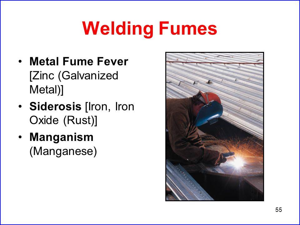 55 Welding Fumes Metal Fume Fever [Zinc (Galvanized Metal)] Siderosis [Iron, Iron Oxide (Rust)] Manganism (Manganese)