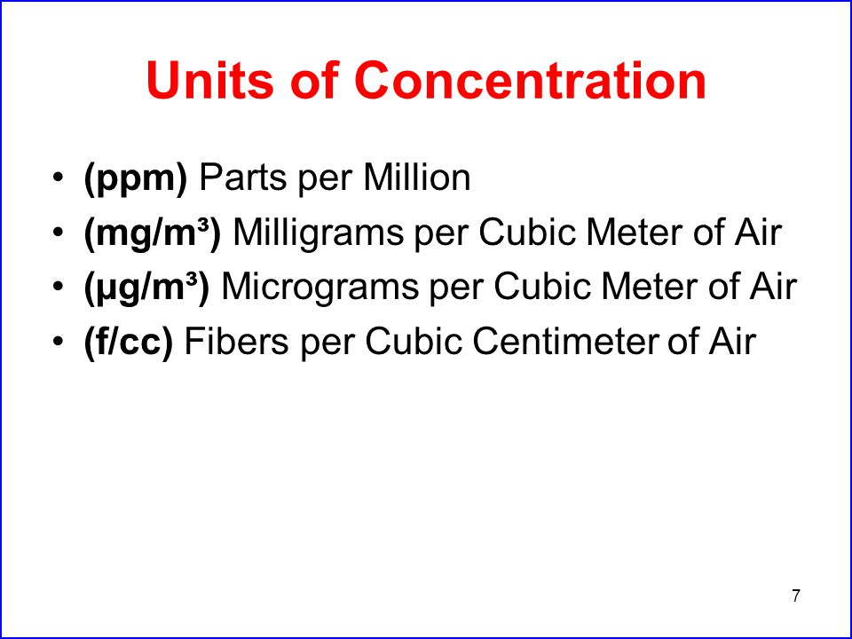 7 Units of Concentration (ppm) Parts per Million (mg/m³) Milligrams per Cubic Meter of Air (µg/m³) Micrograms per Cubic Meter of Air (f/cc) Fibers per Cubic Centimeter of Air