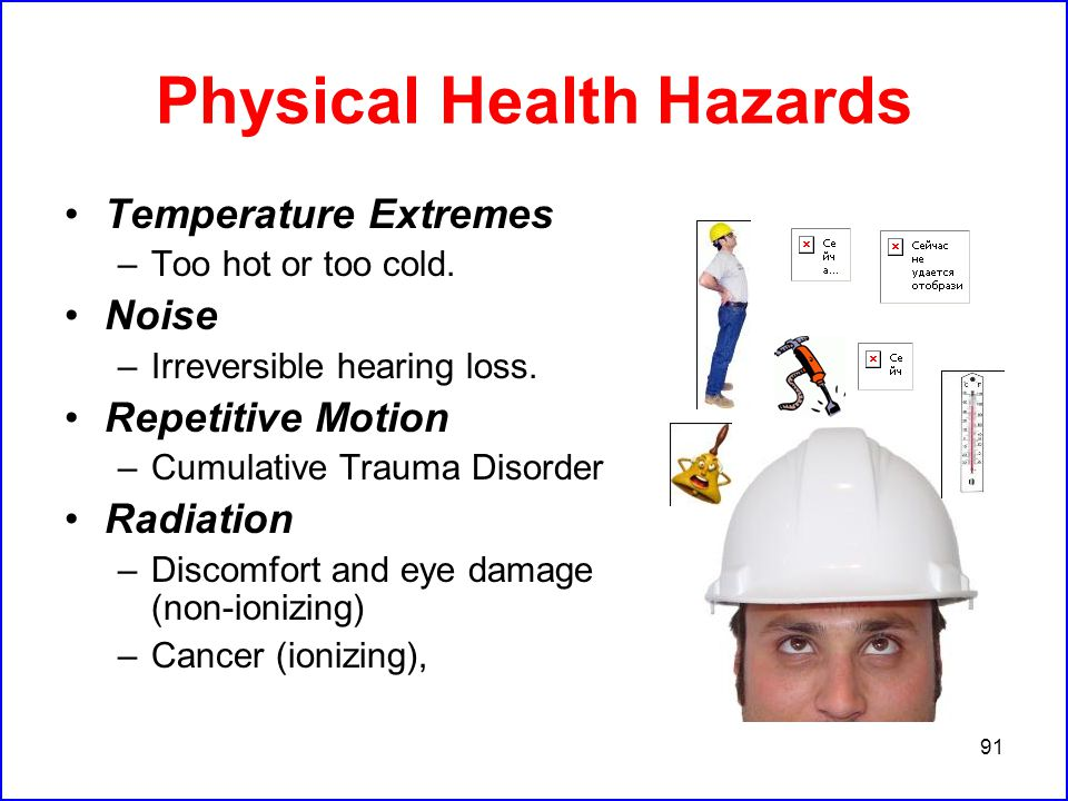 91 Physical Health Hazards Temperature Extremes –Too hot or too cold.