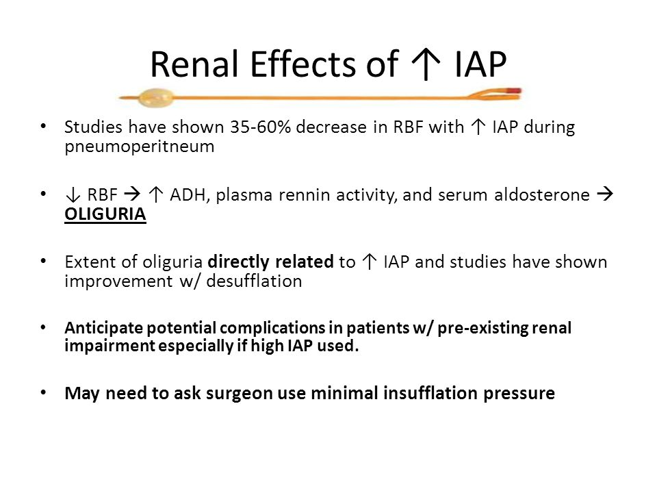 Renal Effects of ↑ IAP Studies have shown 35-60% decrease in RBF with ↑ IAP during pneumoperitneum ↓ RBF  ↑ ADH, plasma rennin activity, and serum aldosterone  OLIGURIA Extent of oliguria directly related to ↑ IAP and studies have shown improvement w/ desufflation Anticipate potential complications in patients w/ pre-existing renal impairment especially if high IAP used.