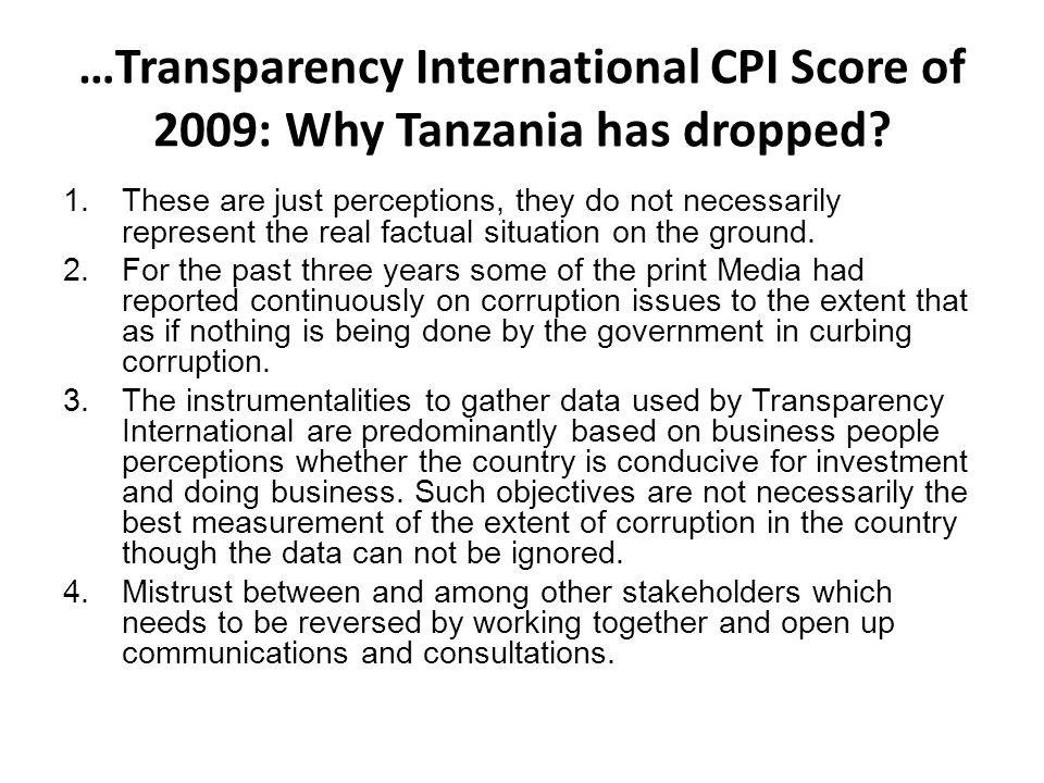 …Transparency International CPI Score of 2009: Why Tanzania has dropped.