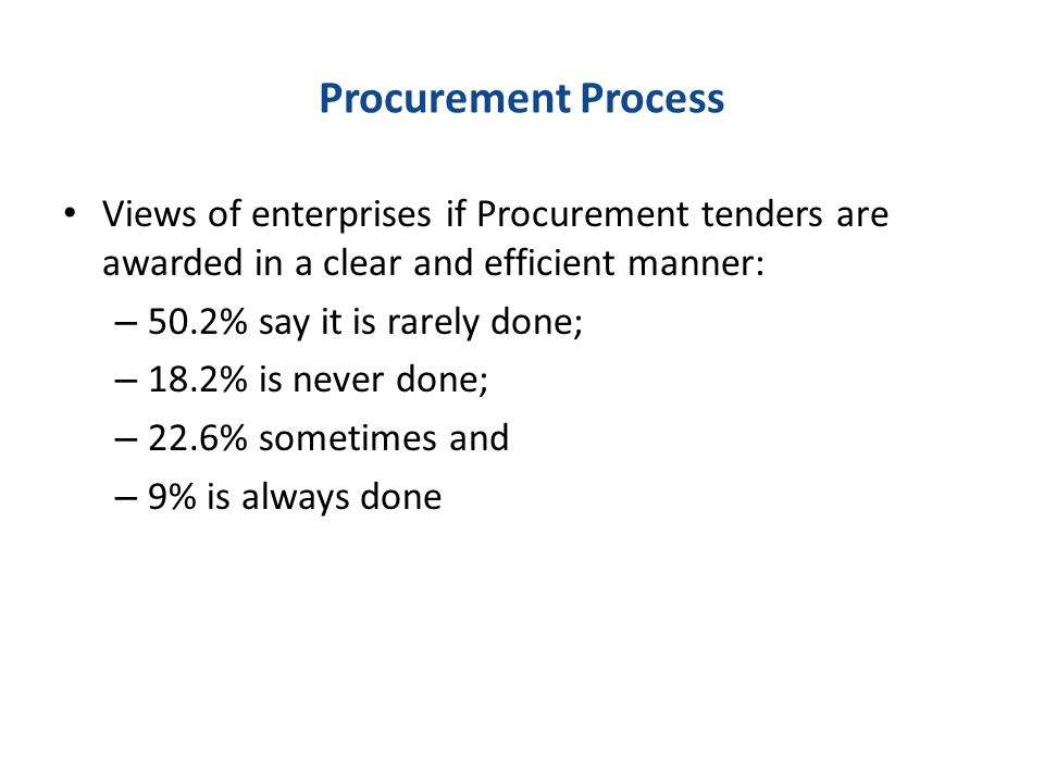 Procurement Process Views of enterprises if Procurement tenders are awarded in a clear and efficient manner: – 50.2% say it is rarely done; – 18.2% is