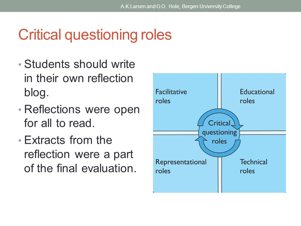 Critical questioning roles Students should write in their own reflection blog.