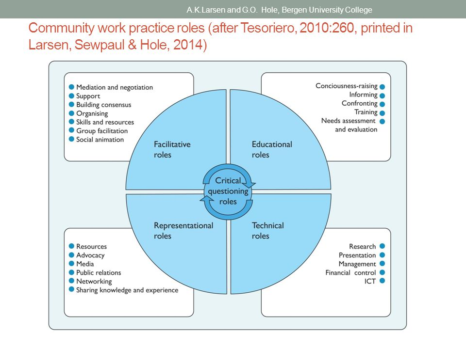 Community work practice roles (after Tesoriero, 2010:260, printed in Larsen, Sewpaul & Hole, 2014) A.K.Larsen and G.O.