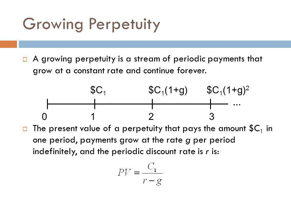 Growing Perpetuity  A growing perpetuity is a stream of periodic payments that grow at a constant rate and continue forever.  The present value of a