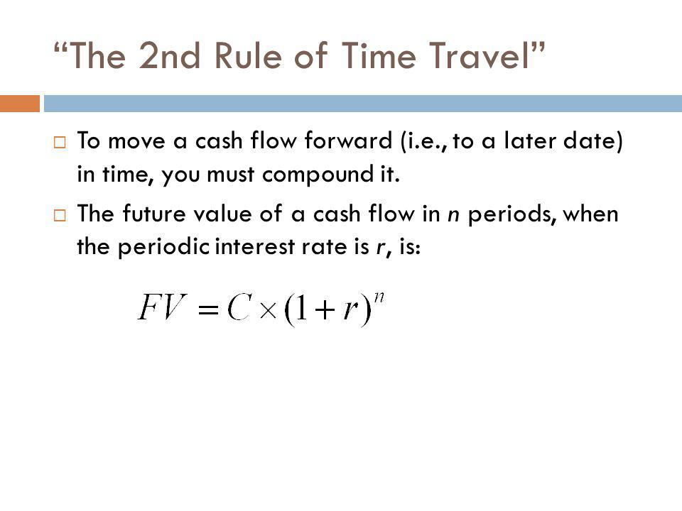 """""""The 2nd Rule of Time Travel""""  To move a cash flow forward (i.e., to a later date) in time, you must compound it.  The future value of a cash flow i"""