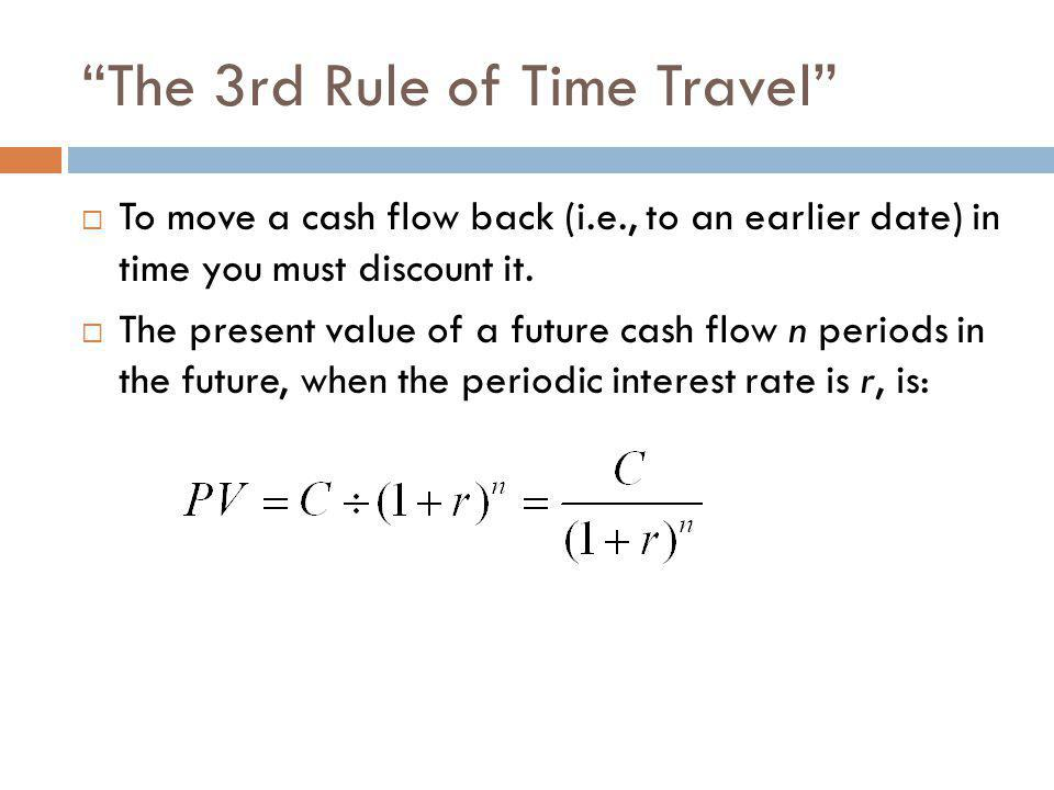 """""""The 3rd Rule of Time Travel""""  To move a cash flow back (i.e., to an earlier date) in time you must discount it.  The present value of a future cash"""