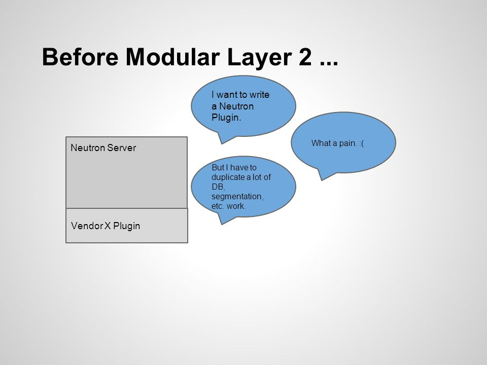 ML2 Use Cases Replace existing monolithic plugins o Eliminate redundant code o Reduce development & maintenance effort New features o Top-of-Rack switch control o Avoid tunnel flooding via L2 population o Many more to come...