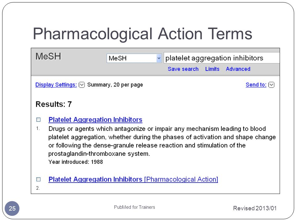 Pharmacological Action Terms Revised 2013/01 PubMed for Trainers 25