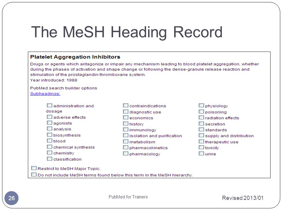 The MeSH Heading Record Revised 2013/01 PubMed for Trainers 26