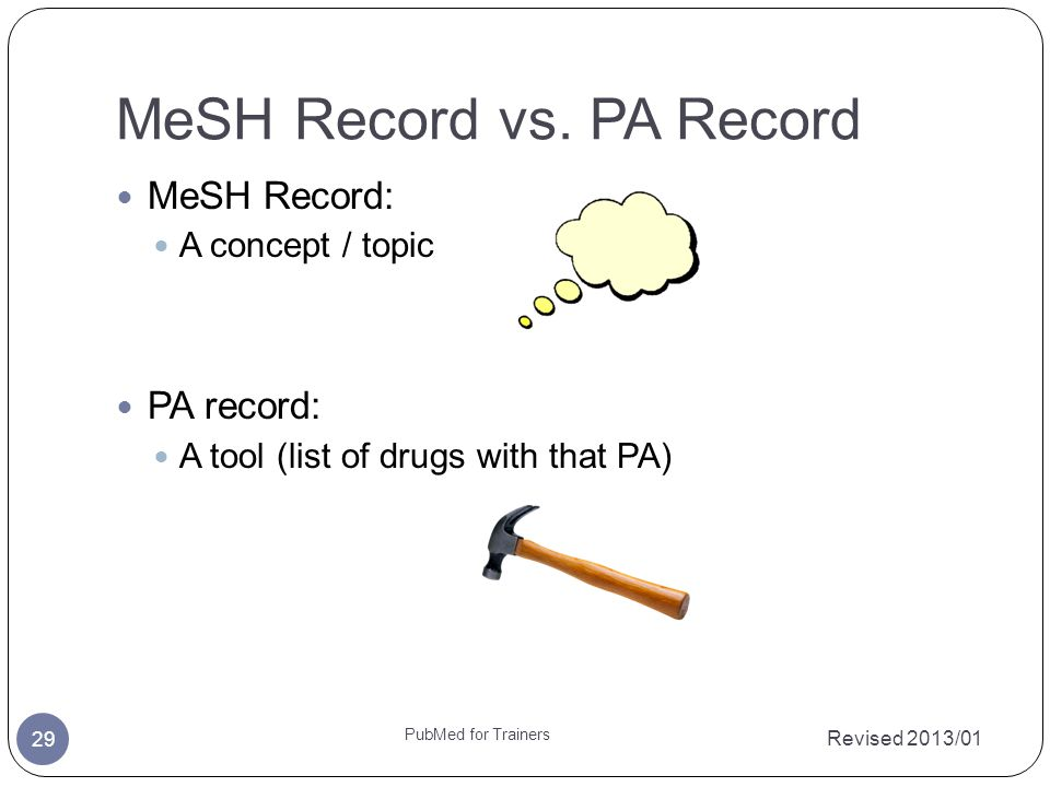 MeSH Record vs. PA Record Revised 2013/01 PubMed for Trainers 29 MeSH Record: A concept / topic PA record: A tool (list of drugs with that PA)
