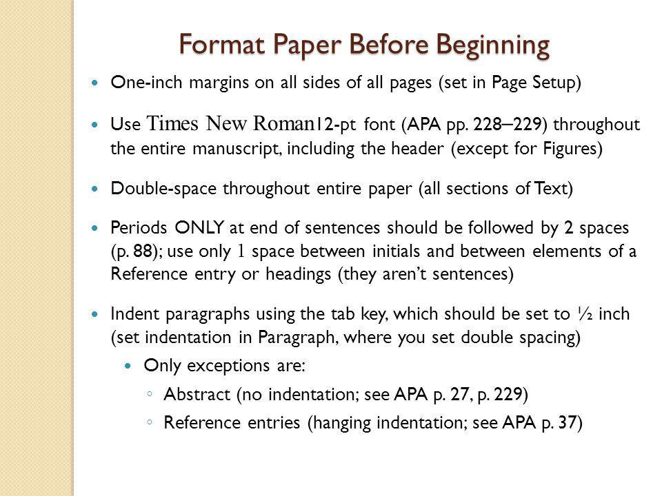 Title Page Components Running head & Page # Title Author's name and affiliation Refer to APA pp.