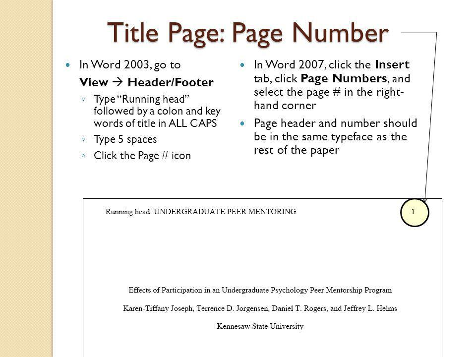 Apa reference page number