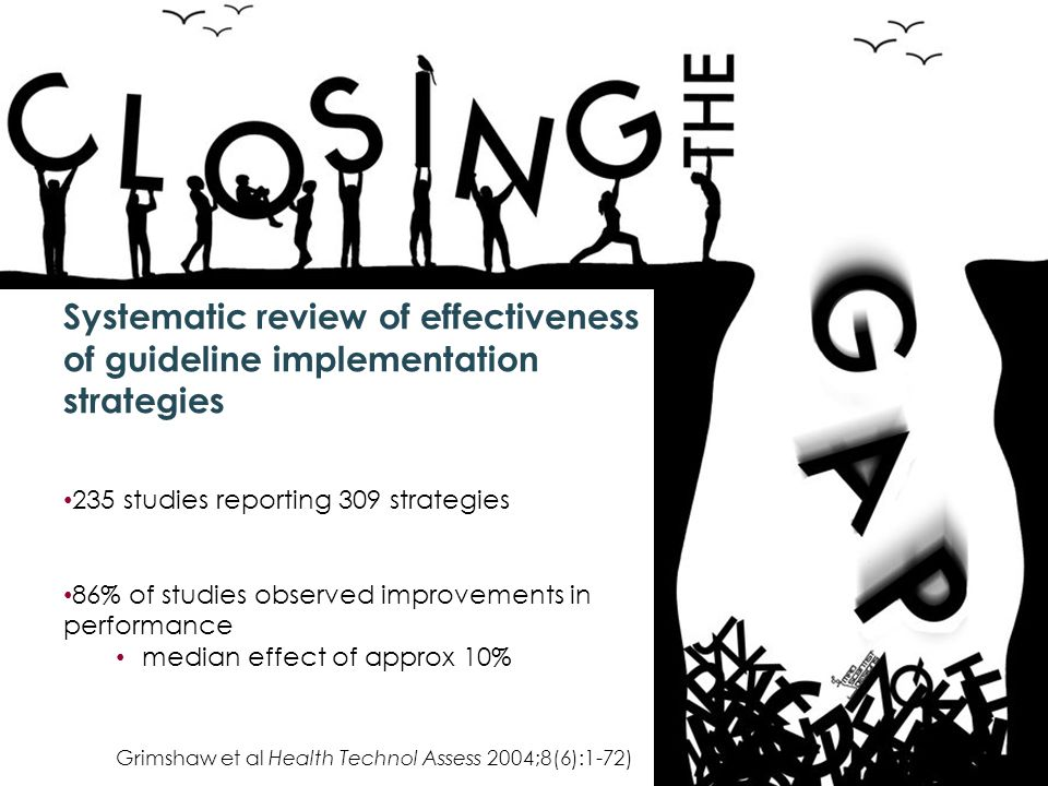 Systematic review of effectiveness of guideline implementation strategies 235 studies reporting 309 strategies 86% of studies observed improvements in performance median effect of approx 10% Grimshaw et al Health Technol Assess 2004;8(6):1-72)