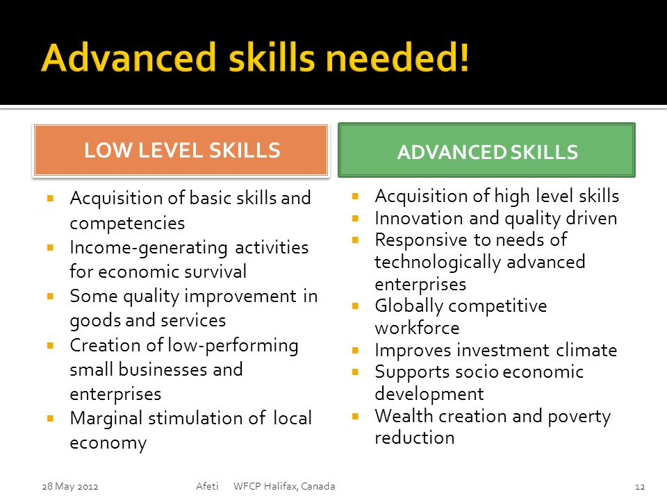 LOW LEVEL SKILLS LOW LEVEL SKILLS  Acquisition of basic skills and competencies  Income-generating activities for economic survival  Some quality i
