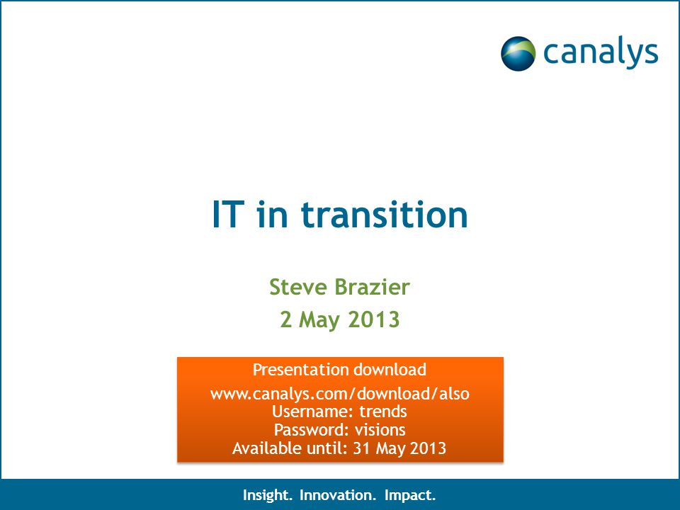 IT in transition Steve Brazier 2 May 2013 Insight.