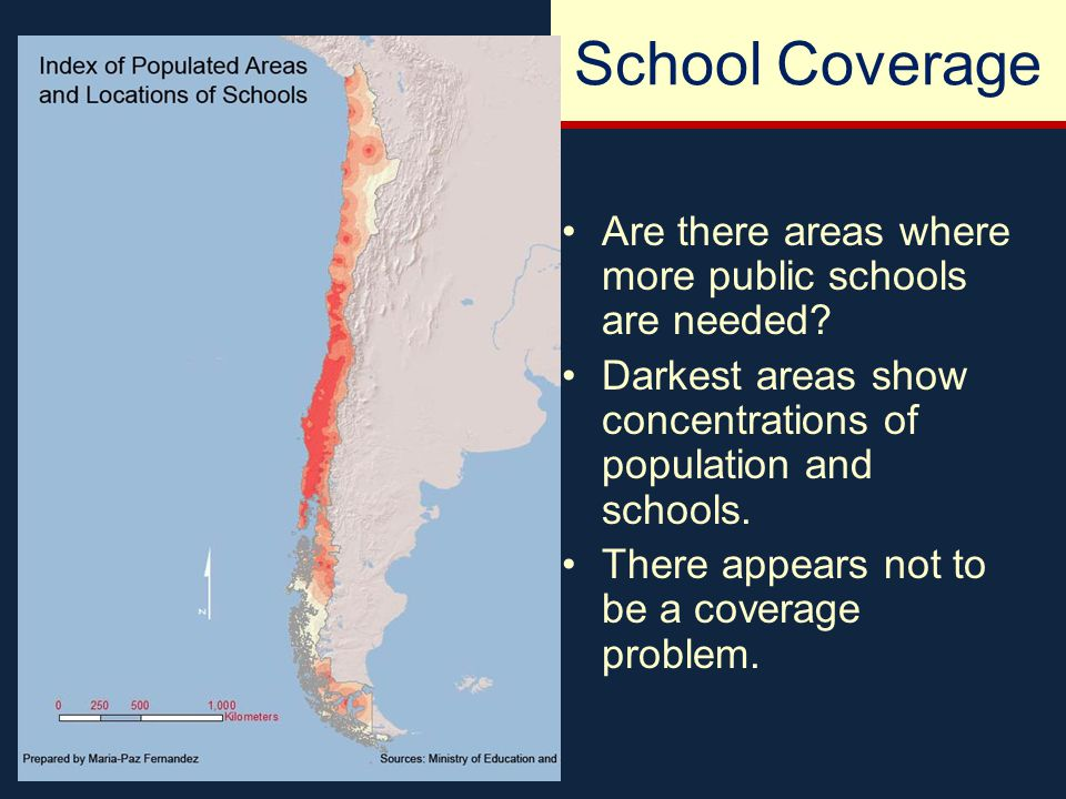 School Coverage Are there areas where more public schools are needed.