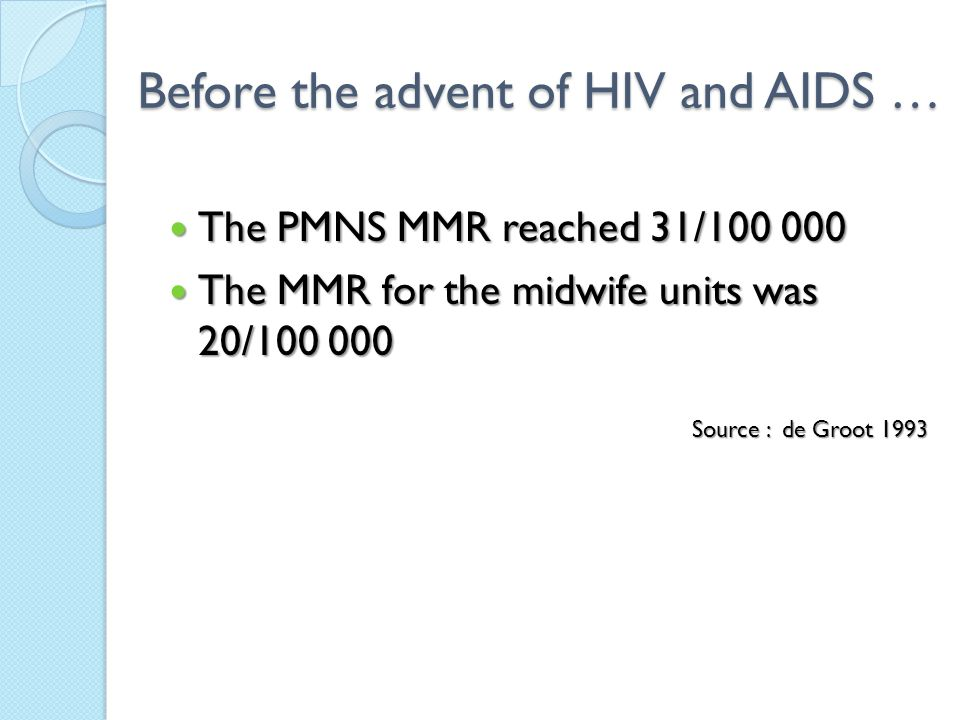 Before the advent of HIV and AIDS … The PMNS MMR reached 31/100 000 The PMNS MMR reached 31/100 000 The MMR for the midwife units was 20/100 000 The MMR for the midwife units was 20/100 000 Source : de Groot 1993
