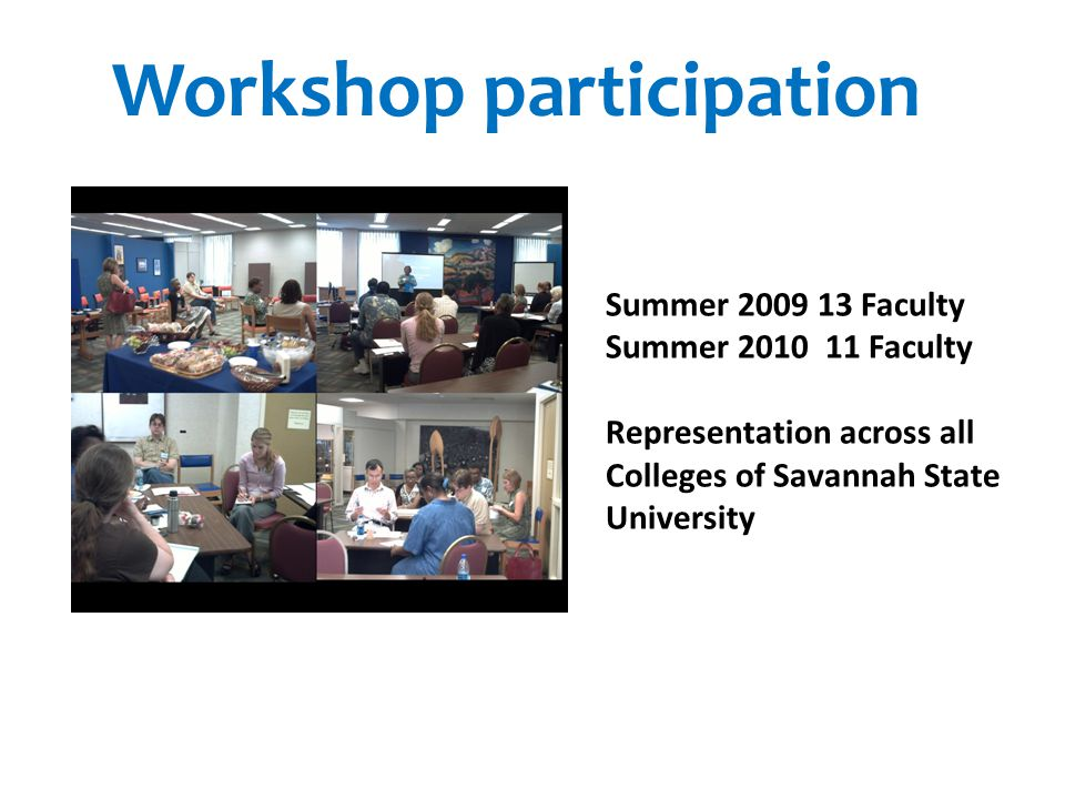 Summer 2009 13 Faculty Summer 2010 11 Faculty Representation across all Colleges of Savannah State University Workshop participation