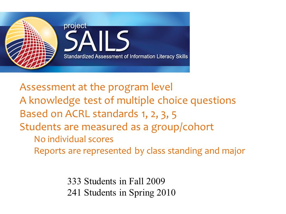 Assessment at the program level A knowledge test of multiple choice questions Based on ACRL standards 1, 2, 3, 5 Students are measured as a group/cohort No individual scores Reports are represented by class standing and major 333 Students in Fall 2009 241 Students in Spring 2010