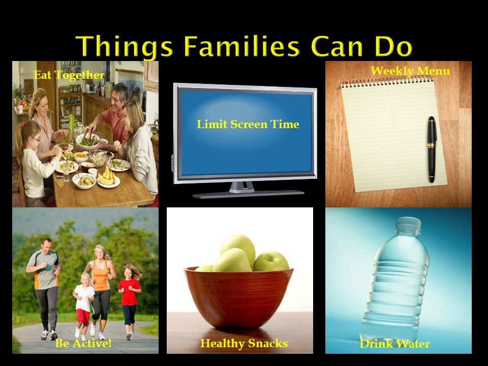 Limit Screen Time Eat Together Be Active!Healthy Snacks Weekly Menu Drink Water