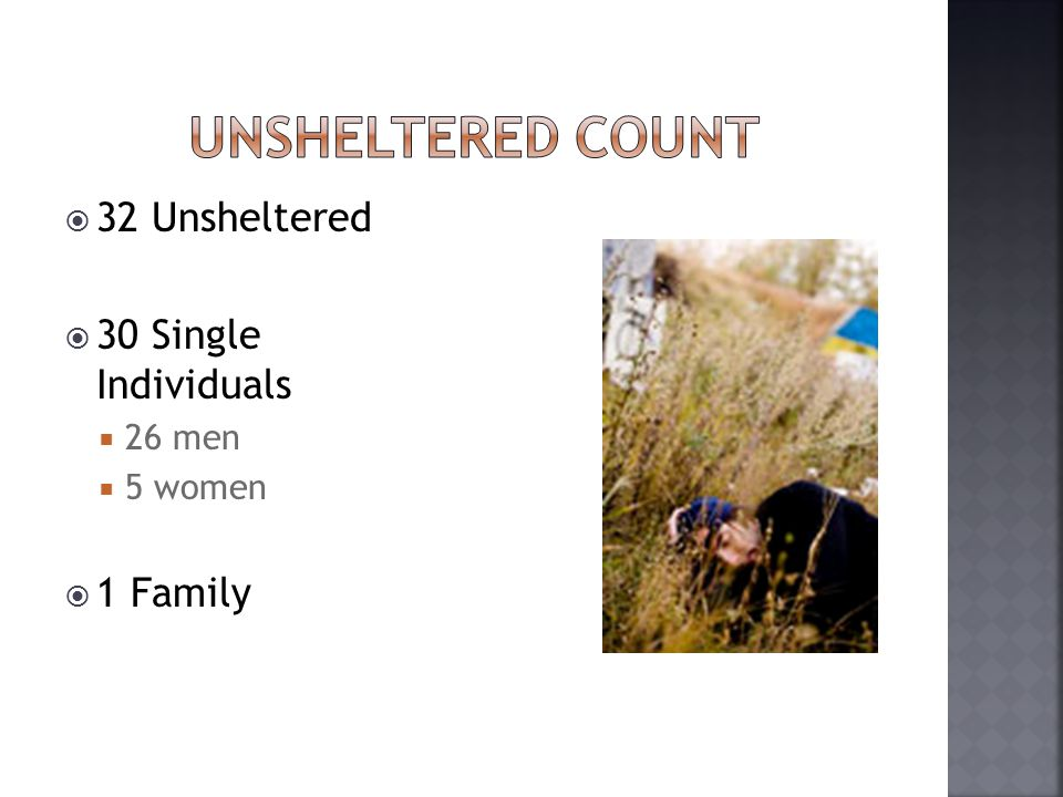  32 Unsheltered  30 Single Individuals  26 men  5 women  1 Family