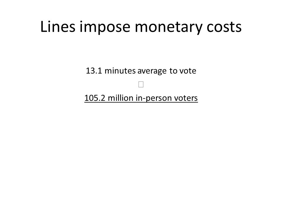 Lines impose monetary costs 13.1 minutes average to vote  105.2 million in-person voters