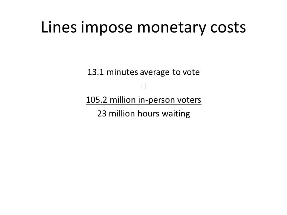 Lines impose monetary costs 13.1 minutes average to vote  105.2 million in-person voters 23 million hours waiting