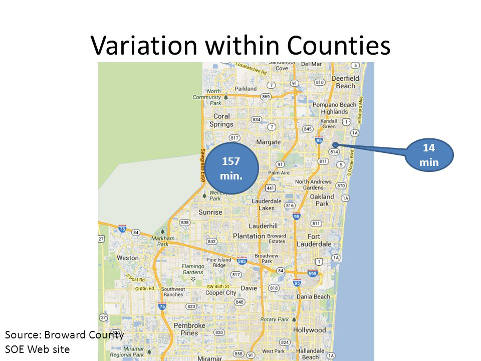 157 min. 14 min Variation within Counties Source: Broward County SOE Web site