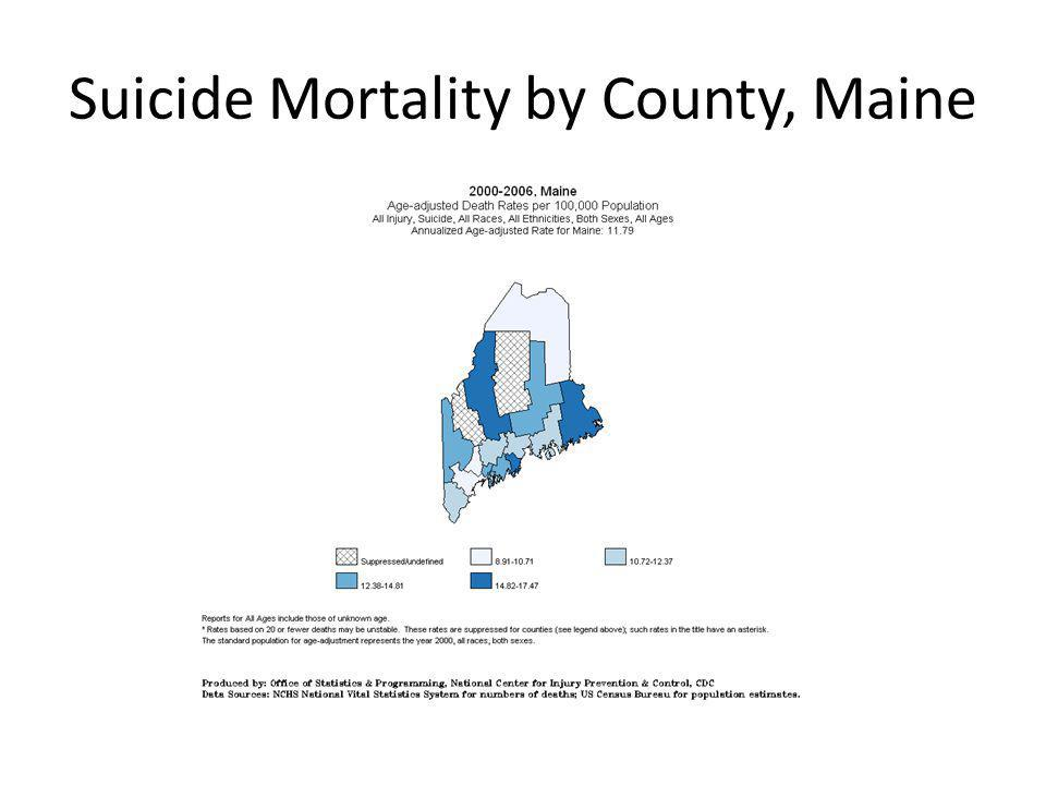 Hospitalization and Outpatient ED visits for Self- inflicted injury, Maine, 2000-2008 Source: Maine Inpatient and Outpatient Hospital Discharge Data