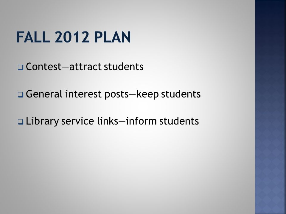  Contest—attract students  General interest posts—keep students  Library service links—inform students