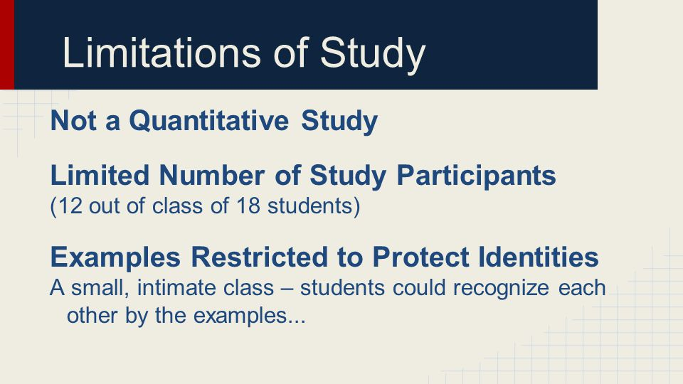 Limitations of Study Not a Quantitative Study Limited Number of Study Participants (12 out of class of 18 students) Examples Restricted to Protect Ide