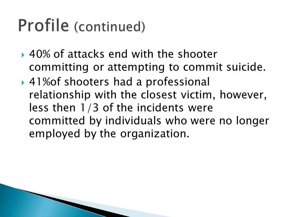  40% of attacks end with the shooter committing or attempting to commit suicide.