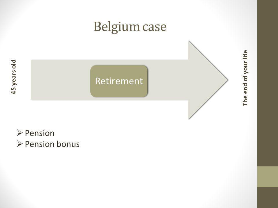 Belgium case Retirement 45 years old The end of your life  Pension  Pension bonus