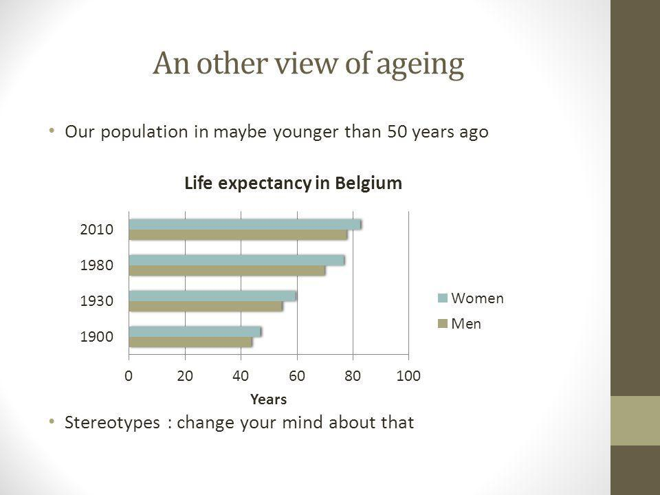An other view of ageing Our population in maybe younger than 50 years ago Stereotypes : change your mind about that