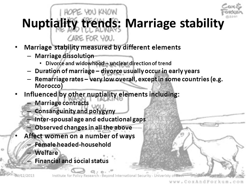 Nuptiality trends: Marriage stability Marriage stability measured by different elements – Marriage dissolution Divorce and widowhood – unclear direction of trend – Duration of marriage – divorce usually occur in early years – Remarriage rates – very low overall, except in some countries (e.g.