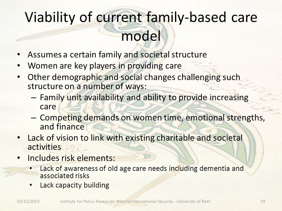 Viability of current family-based care model Assumes a certain family and societal structure Women are key players in providing care Other demographic and social changes challenging such structure on a number of ways: – Family unit availability and ability to provide increasing care – Competing demands on women time, emotional strengths, and finance Lack of vision to link with existing charitable and societal activities Includes risk elements: Lack of awareness of old age care needs including dementia and associated risks Lack capacity building 03/12/2013Institute for Policy Research - Beyond International Security - Univeristy of Bath19