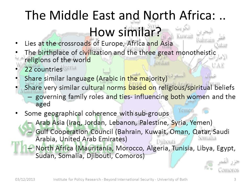 The Middle East and North Africa:.. How similar.