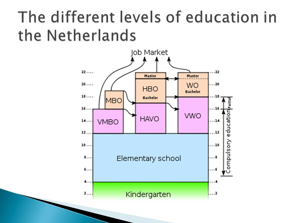  Education policy is coordinated by the Dutch Ministry of Education, Culture and Science, together with municipal governments.Dutch Ministry of Education, Culture and Science  Compulsory education in the Netherlands starts at the age of five, although in practice, most schools accept children from the age of four.