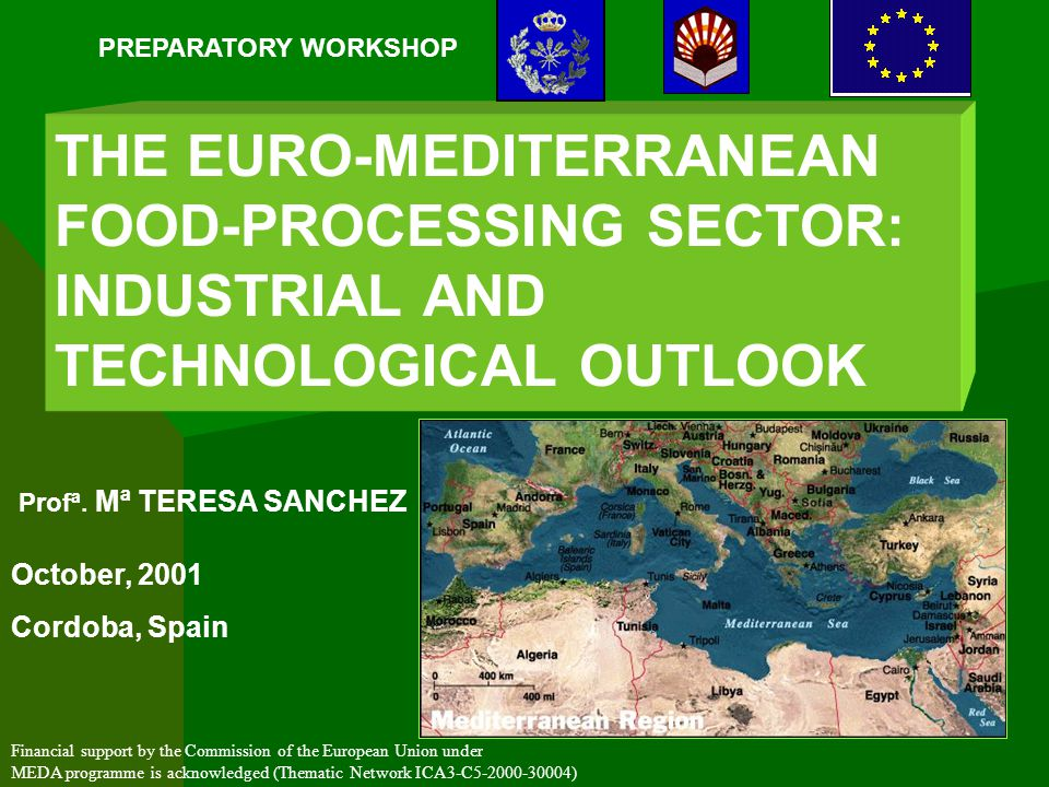 THE EURO-MEDITERRANEAN FOOD-PROCESSING SECTOR: INDUSTRIAL AND TECHNOLOGICAL OUTLOOK PREPARATORY WORKSHOP October, 2001 Cordoba, Spain Financial support by the Commission of the European Union under MEDA programme is acknowledged (Thematic Network ICA3-C ) Profª.