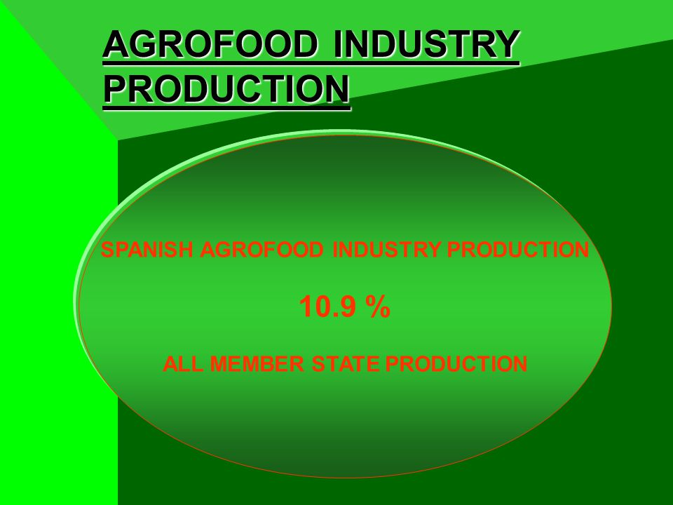 AGROFOOD INDUSTRY PRODUCTION SPANISH AGROFOOD INDUSTRY PRODUCTION 10.9 % ALL MEMBER STATE PRODUCTION