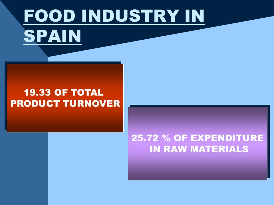 FOOD INDUSTRY IN SPAIN OF TOTAL PRODUCT TURNOVER OF TOTAL PRODUCT TURNOVER % OF EXPENDITURE IN RAW MATERIALS % OF EXPENDITURE IN RAW MATERIALS
