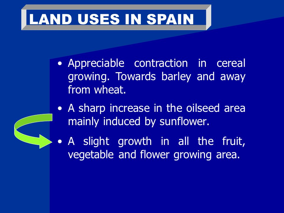 LAND USES IN SPAIN A sharp increase in the oilseed area mainly induced by sunflower.