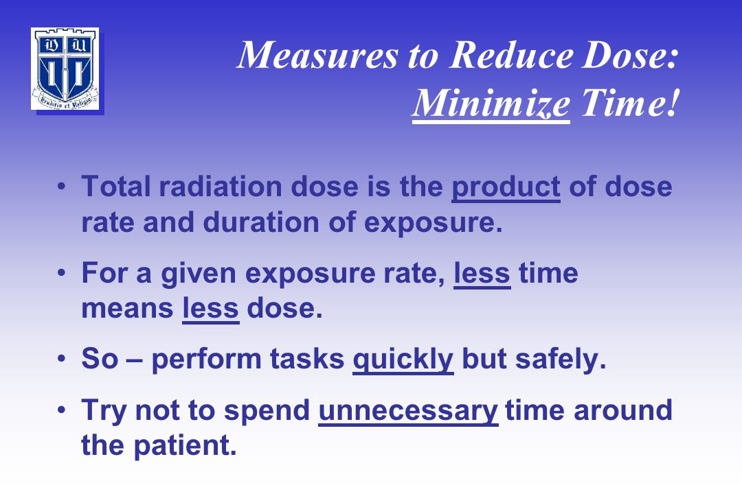 Measures to Reduce Dose: Minimize Time.