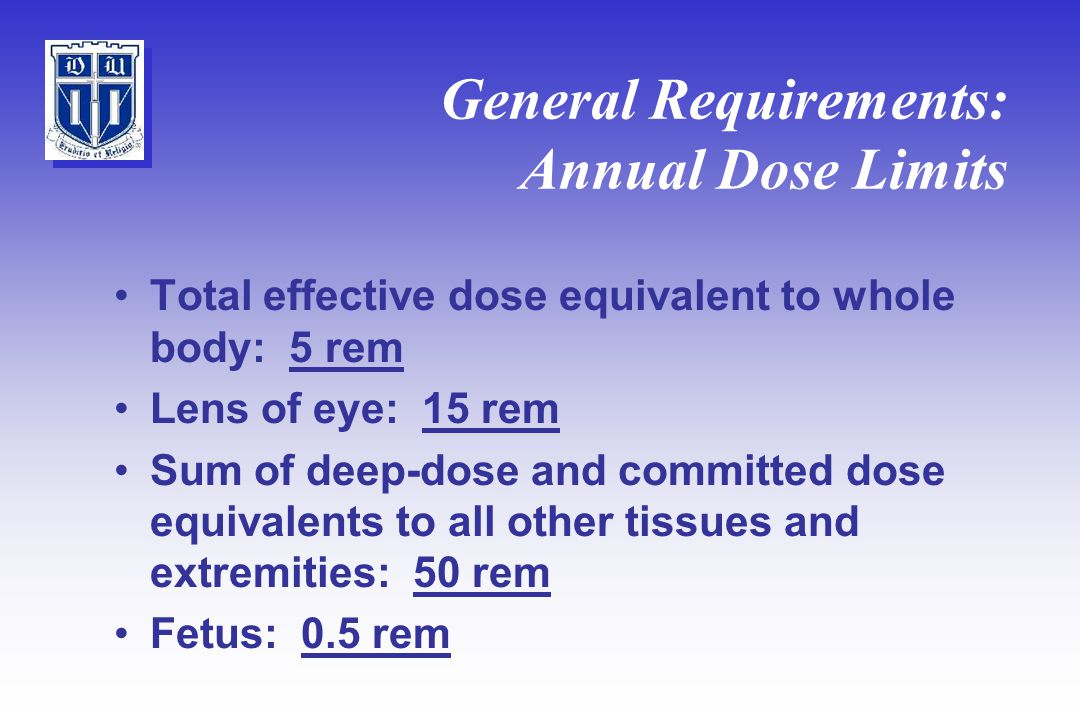 General Requirements: Annual Dose Limits Total effective dose equivalent to whole body: 5 rem Lens of eye: 15 rem Sum of deep-dose and committed dose equivalents to all other tissues and extremities: 50 rem Fetus: 0.5 rem