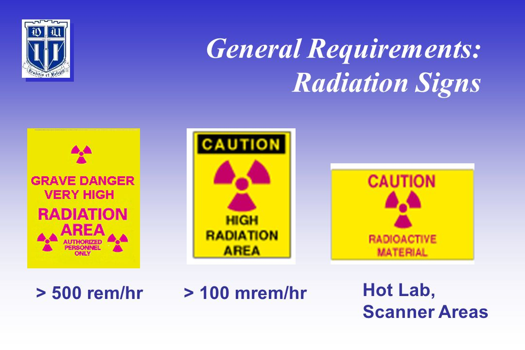 General Requirements: Radiation Signs > 100 mrem/hr> 500 rem/hr Hot Lab, Scanner Areas