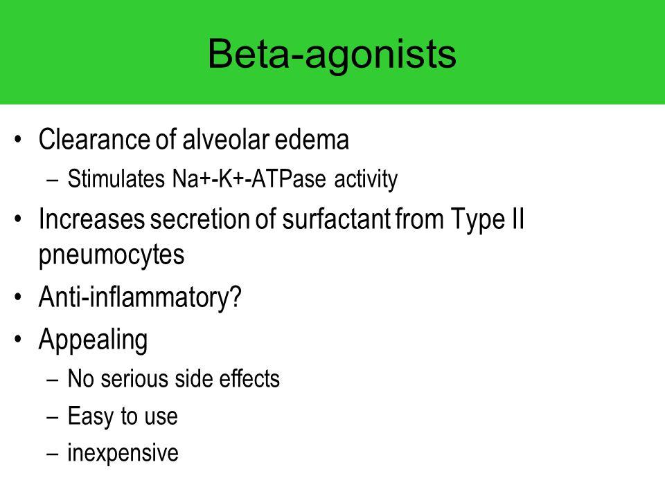 Beta-agonists Clearance of alveolar edema –Stimulates Na+-K+-ATPase activity Increases secretion of surfactant from Type II pneumocytes Anti-inflammat