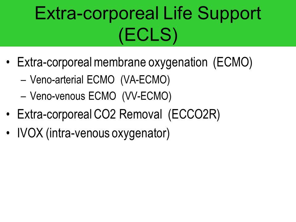 Extra-corporeal Life Support (ECLS) Extra-corporeal membrane oxygenation (ECMO) –Veno-arterial ECMO (VA-ECMO) –Veno-venous ECMO (VV-ECMO) Extra-corpor